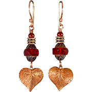 Red Czech Glass Leaf Earrings