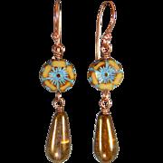 Vintage Czech Glass Teardrop Earrings