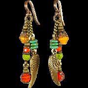 Colorful Angel Wings Czech Glass Earrings