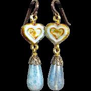Ice Blue Teardrop Heart Czech Glass Earrings