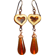 Amber Teardrop Heart Czech Glass Earrings