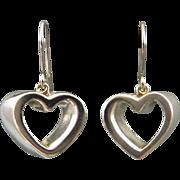 SALE Vintage Tiffany & Co Open Heart Dangle Earrings