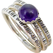 Amethyst Sterling Silver Stack Rings Size 7
