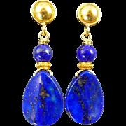Lapis Lazuli 18k Gold Vermeil Teardrop Earrings