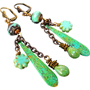 Boho Patina Brass Czech Glass Earrings