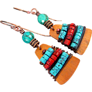 REDUCED Copper Turquoise And Red Howlite Bohemian Earrings