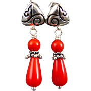 Red Coral Sterling Silver Post Earrings