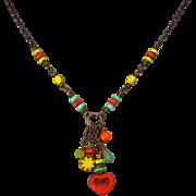 Boho Colorful Czech Glass Necklace