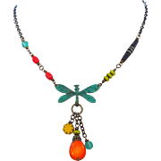 SALE Colorful Dragonfly Necklace