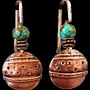 Fold Formed Copper Kingman Turquoise Earrings
