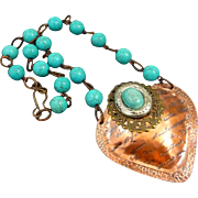 Turquoise Blue Copper Heart Pendant Necklace