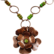 Copper And Green Turquoise Flower Necklace