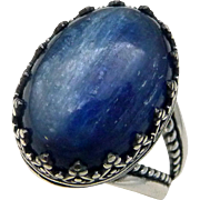 Blue Kyanite Sterling Silver Gallery Ring Size 8