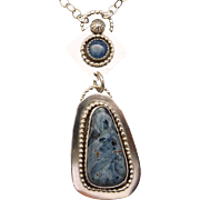 Blue Pietersite And Kyanite Sterling Silver Pendant Necklace