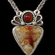 Mexican Laguna Lace Agate Pendant Necklace