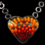 Mixed Metal Enamel Repousse Heart Necklace