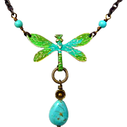 SALE Turquoise Dragonfly Pendant Necklace