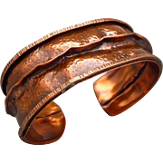 Textured Copper Fold Formed Cuff Bracelet