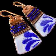 Copper Fold Formed Enamel Earrings