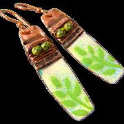 Copper Fold Formed Enamel Leaf Earrings