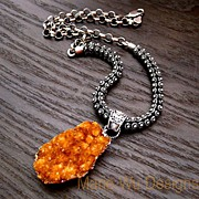 SOLD Citrine Drusy Druzy-Oxidized Sterling Silver-Bold Pendant Necklace