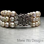 SOLD 3 Strand-Antique Hue FW Pearls-Artisan Bali Silver Bracelet