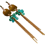 SOLD Neon Apatite Clusters-Gold Fill Shoulder Dusters-Long Dangle Earrings