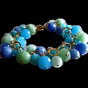 SALE Ocean Colors Quartz-14k Gold Fill Charm Bracelet