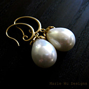 SOLD South Seas Shell Pearl-16k Gold Plate Earrings