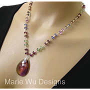 SOLD Stunning Ametrine Pendant-Gem Transparent Fluorite-Sterling Silver Necklace