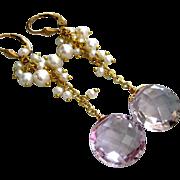 16mm Pink Amethyst Cushions-Lustrous Pearl Cascade-14k Gold Fill Earrings