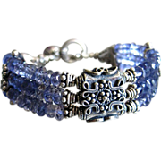 Superb Gem Iolite-3 Strand Balinese Silver Toggle Bracelet with Charms