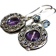 Purple Amethyst-Balinese Silver Hoops- Rosebud Dangle Earrings