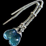 Sky Blue Topaz Teardrops-Sterling Silver Threader Earrings