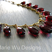 SOLD Outstanding Pyrope Garnet-Multi Briolette-14k Gold Fill Charm Adjustable Layering Necklac