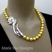 """SALE 12mm Genuine Golden Fresh Water Pearl-3"""" Sterling Silver Rose Clasp-Hand Knotted Nec"""
