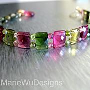 SOLD Gem Grade-Multi Tourmaline-Pink-Green-Cushion-Chiclet-14k Solid Gold Bracelet with Hot Pi