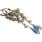 Blue Topaz-Lustrous FW Pearl Cascade-14k Gold Fill Earrings