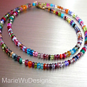 SOLD Multi Gems-Emerald-Ruby-Sapphire-Topaz-14k Solid Gold Simply Elegant Necklace
