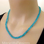 SOLD Finest Neon Apatite-Simply Elegant Gemstone-Gold Vermeil Necklace