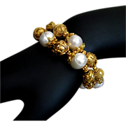 SOLD 2 Strand-13mm Baroque FW Pearls-24K Gold Vermeil Ornate Bracelet