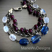 SOLD 3 Strand-Kyanite-Rainbow Moonstone-Ruby-Oxidized Sterling Silver Bracelet with Charms