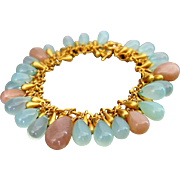 SALE Aqua Chalcedony-Peach Moonstone-Briolette Charm-Gold Plated Bracelet