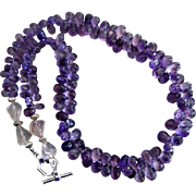 "SOLD 22""- 450ct Purple Natural Amethyst Briolette-Madagascar Rose Quartz-February Birthst"