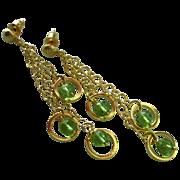 Swingers-Peridot-18k Gold Vermeil-Gold Fill-Three Tier Cascading Waterfall Post Earrings