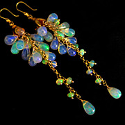 SALE AAA Ethiopian Welo Opal-Solid 18k Gold Cascade Waterfall Earrings