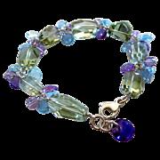 Multi Stone-Blue Topaz-Aquamarine-Green Purple-Pink Amethyst-Chunky Sterling Silver Bracelet w