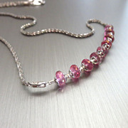 SOLD Genuine Pink Topaz-Rhodium Sterling Silver-Simply Elegant Necklace
