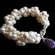 SALE Woven Fresh Water Pearl-Russian Charoite Charm-Sterling Silver Bracelet