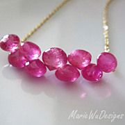 SALE 12.5ct Natural Pink Sapphire-Ruby-14k Solid Gold Necklace-September Birthstone